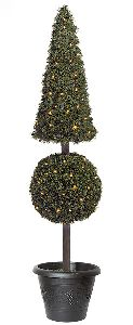 Artificial Topiary Trees, Outdoor Topiary, 5 feet   Pyramid Ball Pine Topiary with LED Lights